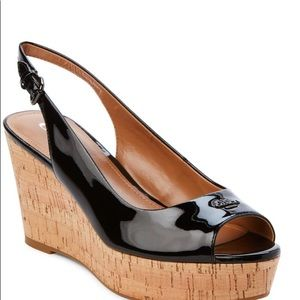 Coach  Ferry Patent Leather Cork Wedge Sandal